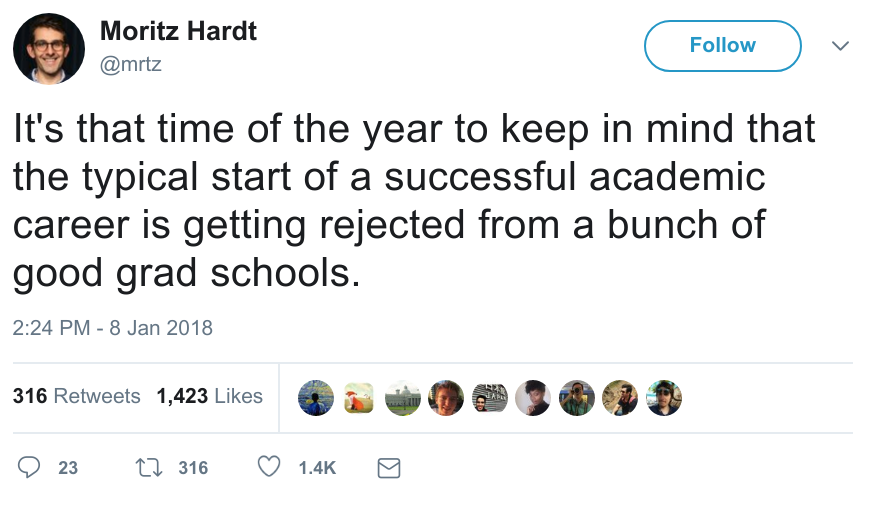 "A screenshot of Moritz Hardt's Tweet saying: ""It's that time of the year to keep in mind that the typical start of a successful academic career is getting rejected from a bunch of good grad schools."""