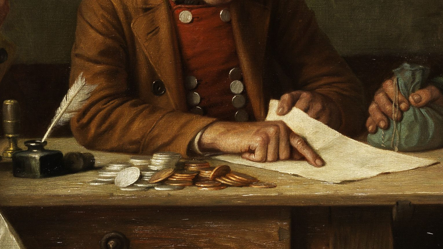 A painting of coins on a table by Josef Wagner-Höhenberg.