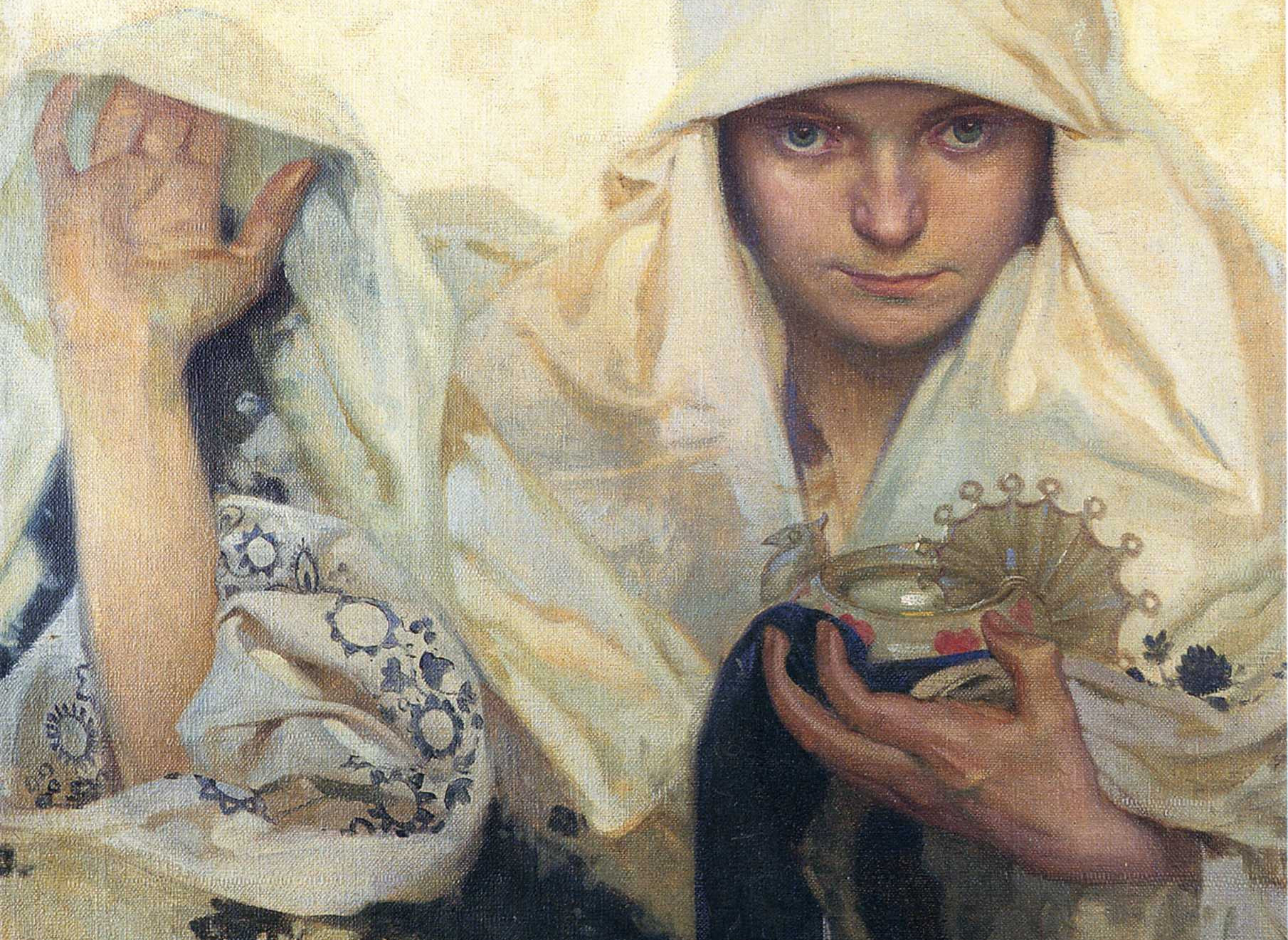 "An oil painting titled ""Fate"", painted in 1920 by Alphonse Mucha. It depicts a woman in a white robe holding an oil lamp."