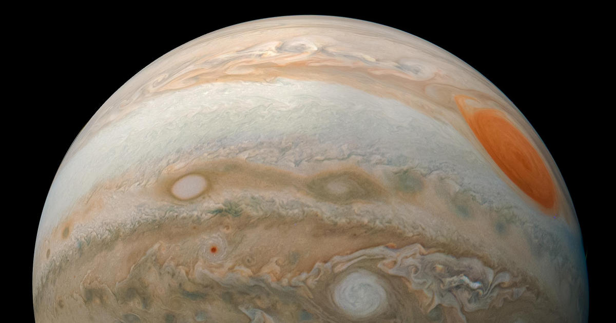 The planet Jupiter as seen by the Juno spacecraft.
