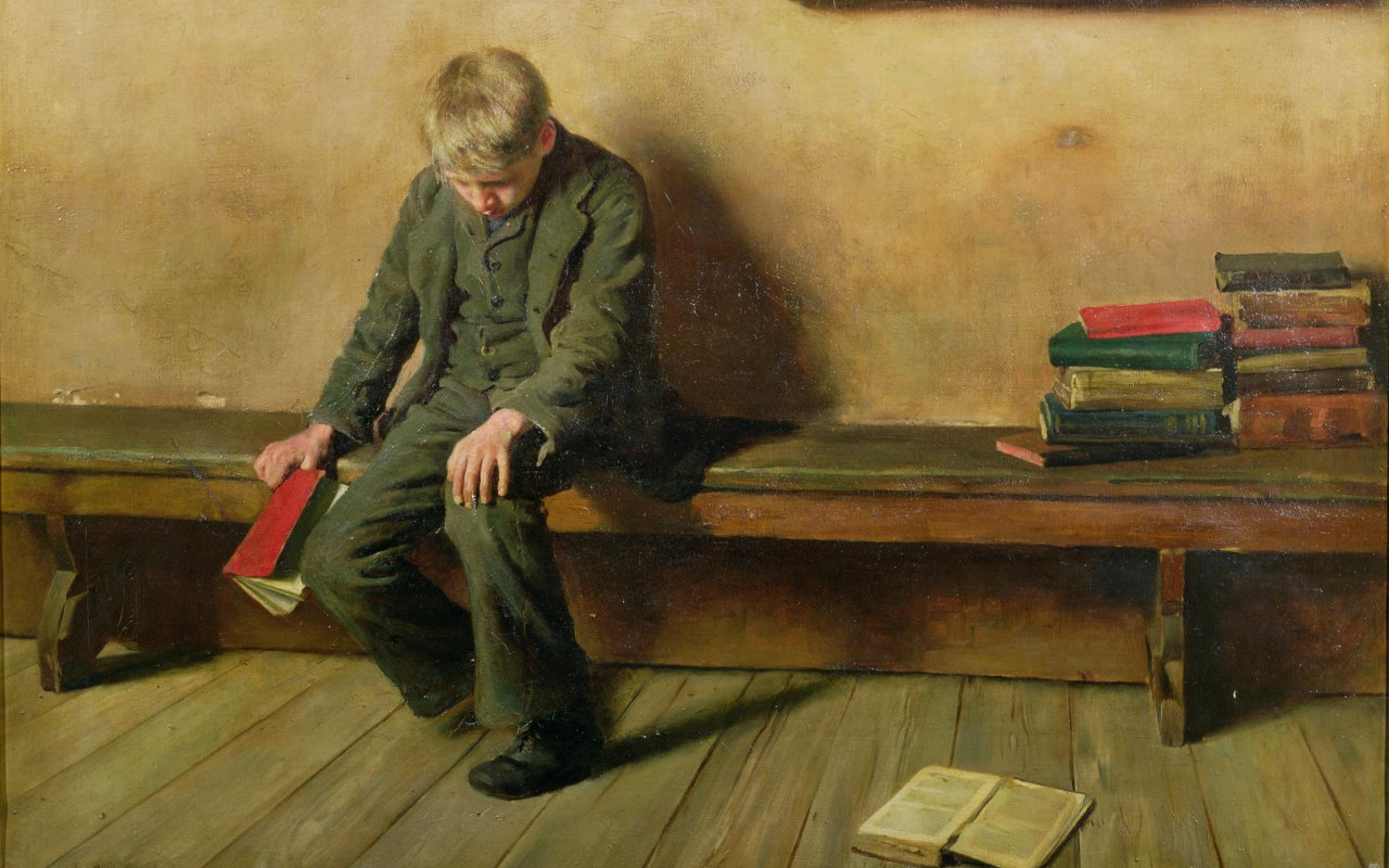 A painting by Harold Dunce shows a boy in a suite sitting alone on a bench. He is surrounded by books, and he holds one in his right hand loosely as if about to drop it. He hangs his head in sorrow or shame.