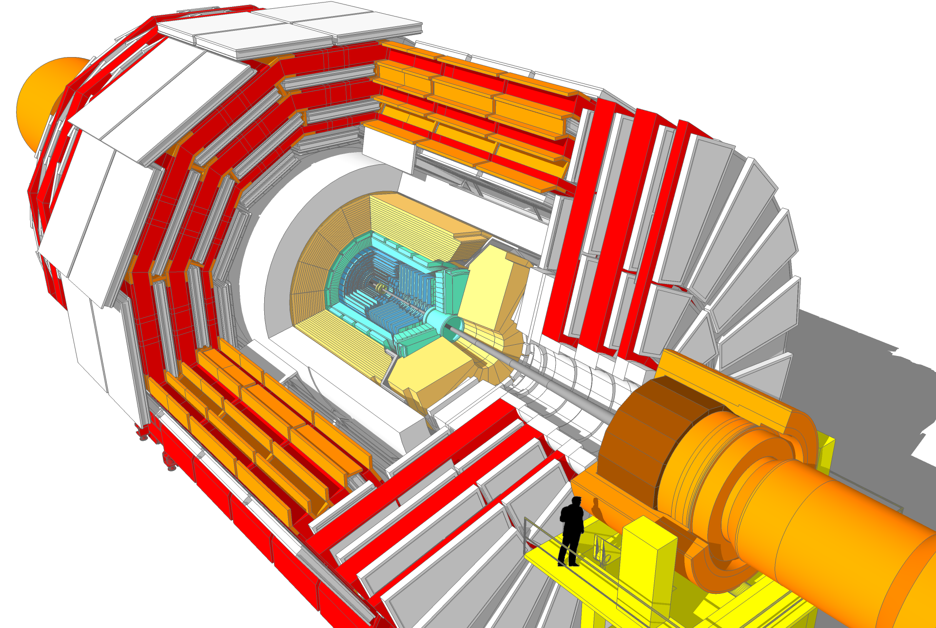 A cutaway diagram of the CMS detector showing the various pieces that make it up.