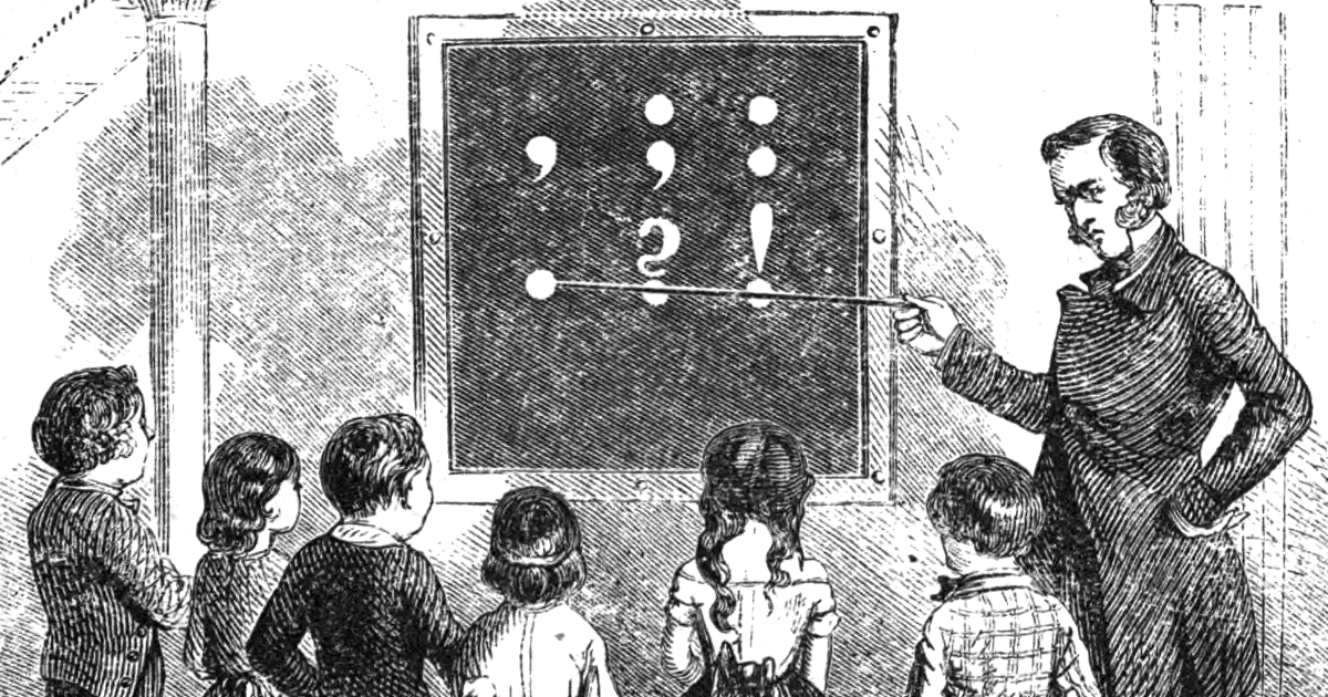 A woodcut by J. W. Orr showing a man using a blackboard to teach young children punctuation.