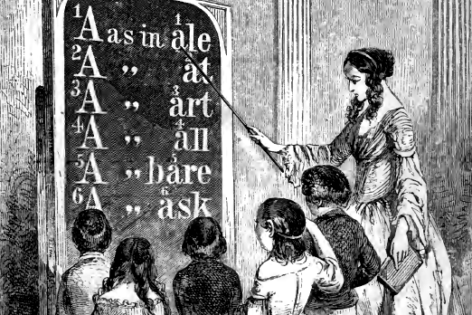 A woodcut by J. W. Orr showing a woman using a blackboard to teach young children how to pronounce words.