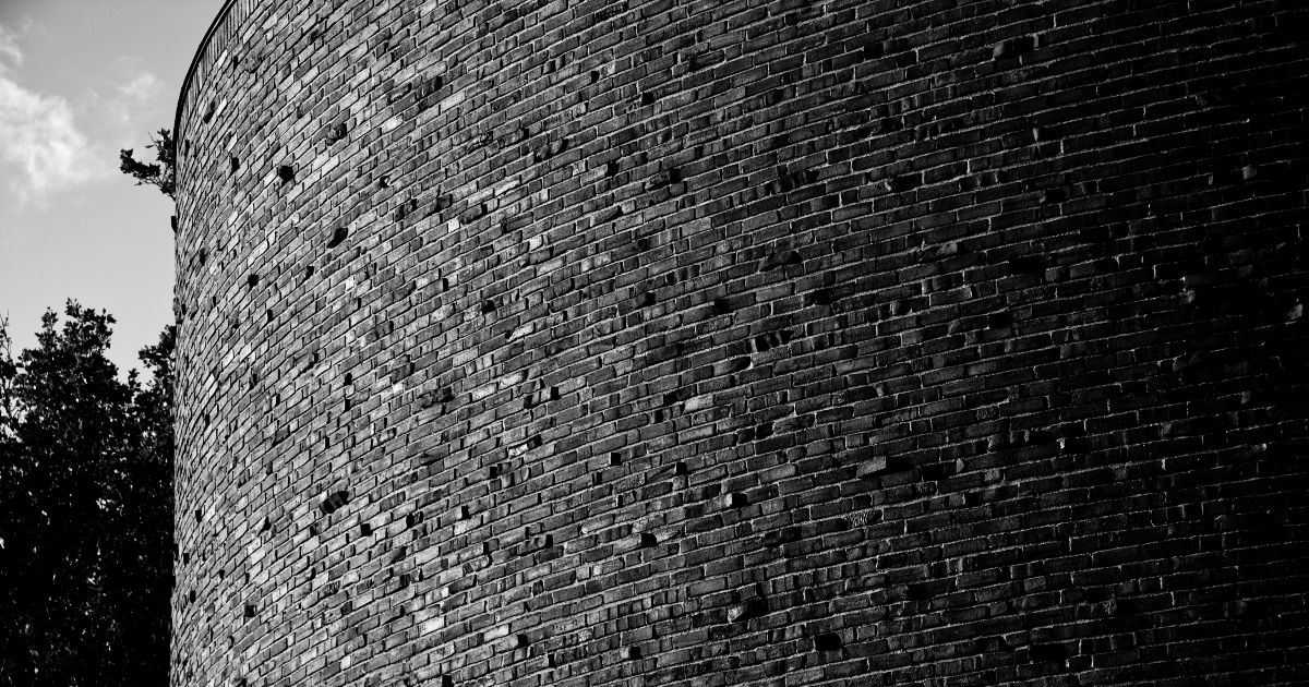 A black and white photo of bricks making up Kresge Auditorium at MIT.