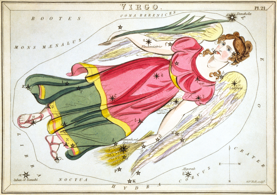 A drawing by Sidney Hall of the constellation Virgo represented as a Woman with angel wings and a pink and green dress.