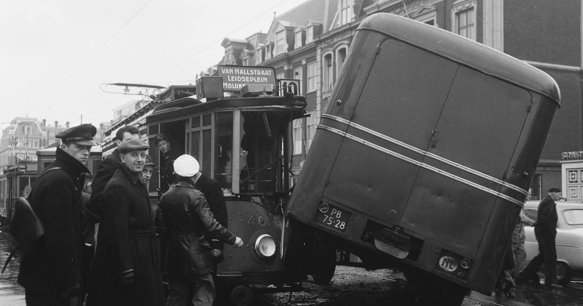 A photo of a tram and a delivery van collision in Frederiksplein, Amsterdam, 1957.