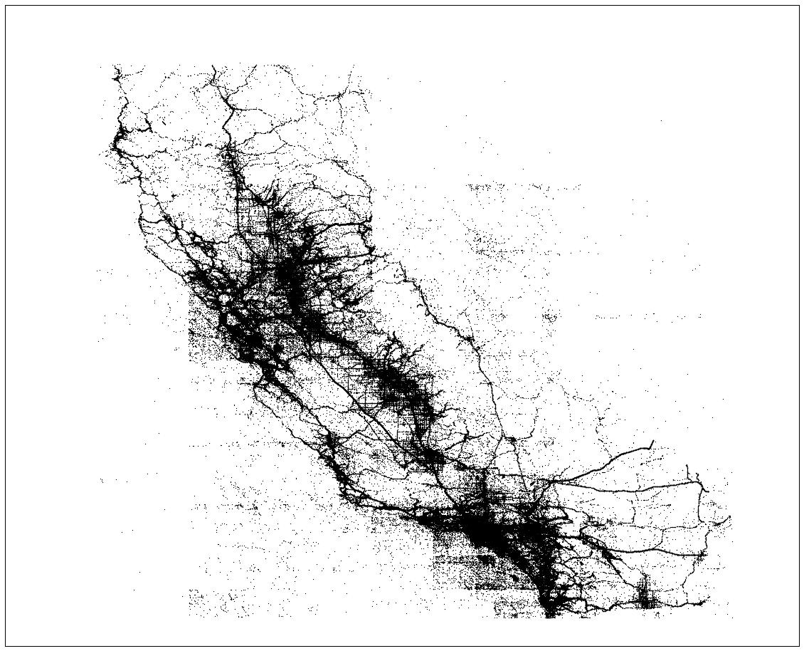 A map of the location of all the accidents in the state of California from 2001 to 2016