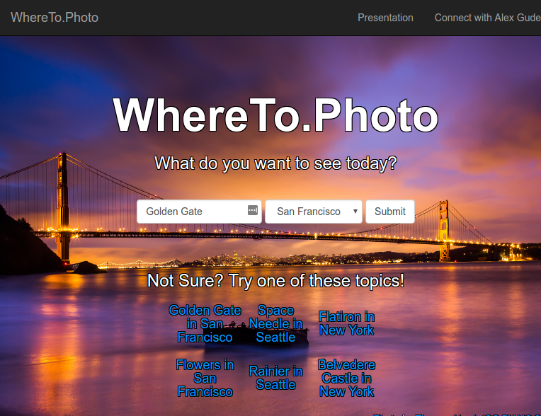 A screenshot of the front page of WhereTo.Photo.